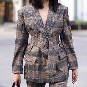 Zara Checked Belted Blazer